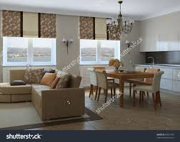 Modern Living Dining Room Modern Livingroom Diningroom Kitchen 3d Render Stock Illustration