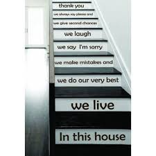 Stair <b>Quotes</b> Stairway <b>Quote</b> In this house we live Lettering <b>Family</b> ...