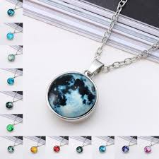 whole new design glow in dark full moon pendant necklace for women female glowing choker luminous women fashion jewelry accessory chain necklace mens