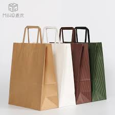 large kraft paper bags with flat handle