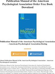 Publication Manual Of The American Psychological Association Order