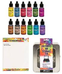 Adirondack Alcohol Ink Colour Chart Tim Holtz 12 Pearl Alcohol Inks Alcohol Ink Storage Tin One Sheet Of Ranger Yupo 8 Inch X10 Inch White Cardstock For Making Your Own Color Chart