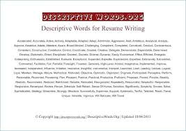 Descriptive Words For Resume Inspirational Words For Resumes Adorable Good Resume Words To Describe Yourself