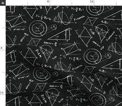 Fabric By The Yard Chalkboard Calculations Math Geometry Chalkboard Equations Physics Stem Fabric