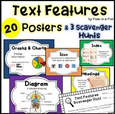Text Features Anchor Chart Worksheets Scavenger Hunt