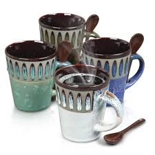 Mr. Coffee Delmar Coffee Mug & Spoon Set, 4 Assorted Colors