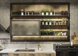 industrial kitchen furniture. Details Of Woodwork Equipped With Painted Aluminum Open Containers And A Capacious Glass Wall Unit In · Kitchen IndustrialLoft Industrial Furniture N