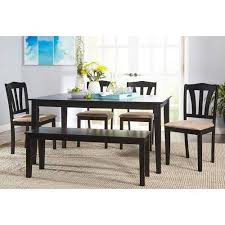 metropolitan 6 piece dining set with bench black walmart for idea 2