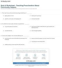 Quiz Worksheet Teaching Preschoolers About Community Helpers ...