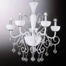 Kronleuchter Glas Weiß Transparent Metall Chrom