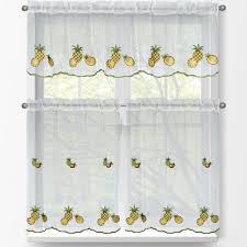 Kitchen Tier Curtains Sets Window Elements Pineapple 3 Piece Embroidered Kitchen Tier And