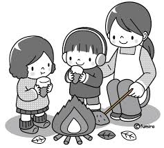 焚き火焼き芋のイラストモノクロ 子供と動物のイラスト屋さん