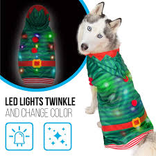 Blinking Lights For Dogs Dog Sweater With Blinking Led Lights 24 Holiday Pet