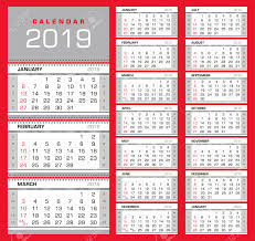 Week Number Calendar Wall Quarterly Calendar 2019 With Week Numbers On White Background