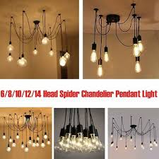 retro industrial hanging light lamp diy spider chandelier ceiling pendant lights