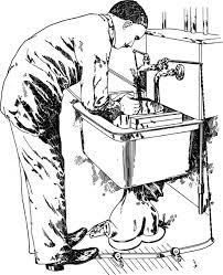 sink hand man kitchen countertop