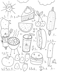 bbq summer food coloring book page