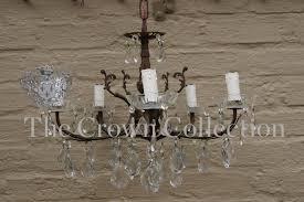 vintage french bronze crystal chandelier