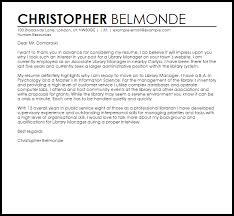 cover letter for librarians library manager cover letter sample cover letter templates examples