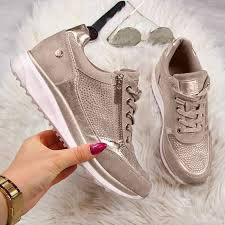 <b>DIHOPE Woman Sneakers</b> Gold Zipper Platform Trainers Women ...