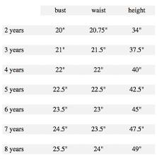 Custom Size Chart Sizing Chart Elizabeth On Jones