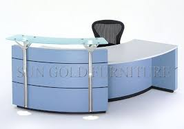 modern high glossy l shape glass top and wooden office reception tablesz rt036 blue glass top modern office