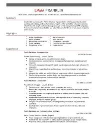 CV Template for Public Relations