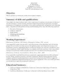 Maintenance Mechanic Resume Sample Maintenance Technician Resume