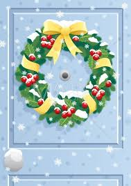christmas front door clipart. Simple Front Door Wreath  Vector Cartoon Clipart Illustration Christmas Garland Front  Door Entrance Snow Winter Background Greeting Card Throughout Christmas Front O