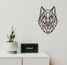 wolf metal wall art geometric animals