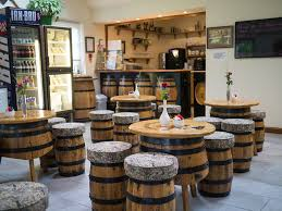 The coffee shop with the barrel furniture