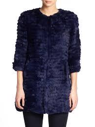 adrienne landau knit rabbit fur coat navy women s coats faux shearling 100 genuine