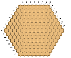 Unlur is played on a hexagonal board, 8 cells per side. Other sizes can  also be used (e.g. 10 cells per side).