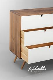 Indie Furniture Mid Century Dresser With 3 Drawer In White With Walnut Surround
