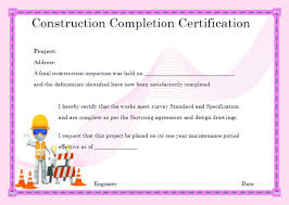 16 Construction Certificate Of Completion Templates
