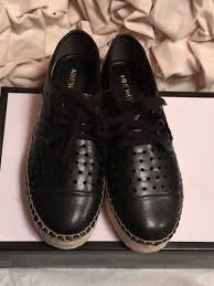 nwt ninewest gigantico perforated starsblack faux leather shoes women s