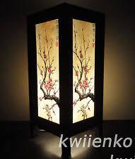 asian lighting. asian oriental japanese sakura cherry blossom tree branch art bedside table lamp lighting