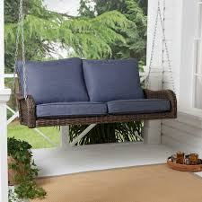 better homes gardens brookhaven outdoor wicker porch swing with blue cushions