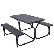 Giantex picnic table bench set outdoor camping all weather metal base wood like texture backyard poolside dining party garden patio lawn deck large camping