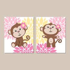 girl monkey wall art baby girl nursery decor monkey bathroom