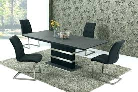 large glass dining table extending black stone effect round seats 8 c