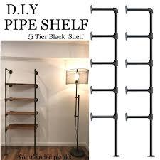 set of 2 5 layers industrial retro iron pipe shelf wall hung bracket diy storage shelves