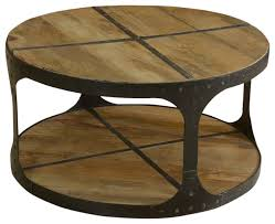 Industrial Wood And Iron 2 Tier Round Coffee Table Industrial Coffee Tables
