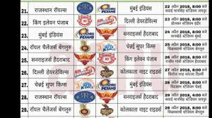 Roja Chart 2018 Ipl 2019 Timetable Indian Premier Leaugh 2019 Time Table