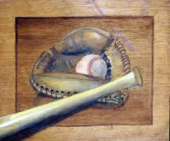 the painting was done on a piece of paneling it was a still life of my franklin catcher mitt and my ball and bat since there was no frame i painted