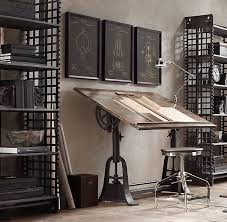 office desk hardware. private office space with a 1910 american trestle drafting table from restoration hardware desk w