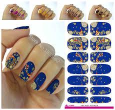 Minx Toes Designs Nails Art Sticker Phoenix Design Flowers Decor Blue 3d
