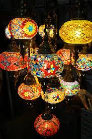 turkish moroccan 16 piece mosaic chandelier close up