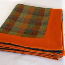 harris tweed picnic rug with waterproof backing autumn hues sula soft furnishings interiors scotland