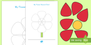 Flower Chart In English Flower Petal Reward Chart Display Poster Flower Petal